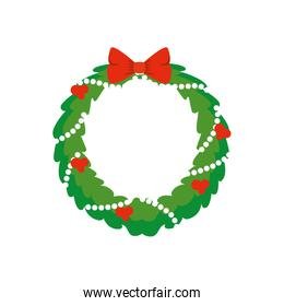 wreath christmas with decoration isolated icon