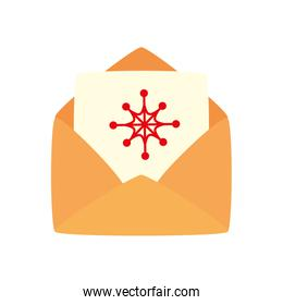 envelope with card christmas isolated icon