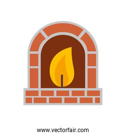 chimney with flame isolated icon