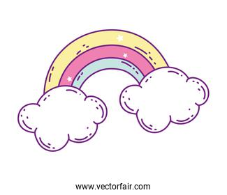 Isolated rainbow and cloud vector design