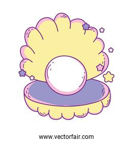 Isolated shell with pearl vector design