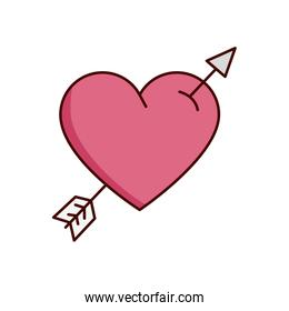 valentines day heart with arrow isolated icon