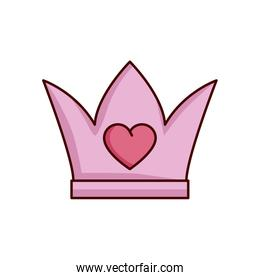 valentines day crown with heart isolated icon