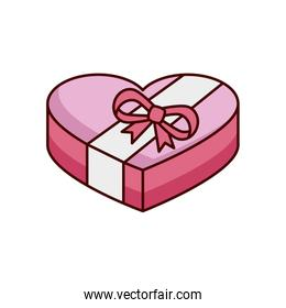 gift box present in heart shape isolated icon