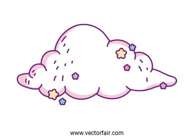Isolated cloud shape with stars vector design