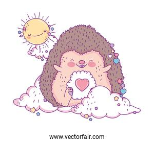 Cute hedgehog cartoon with sun and clouds vector design