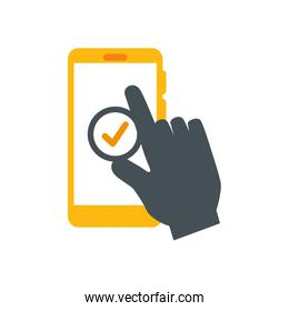 hand user app in smartphone isolated icon