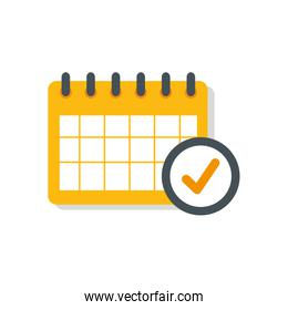 calendar reminder date with check symbol isolated icon