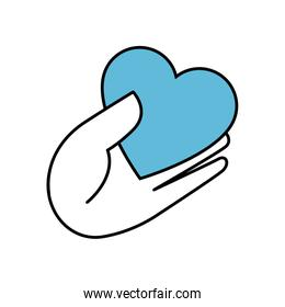hand with heart isolated icon