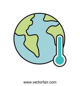 world planet with thermometer isolated design