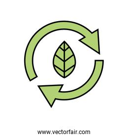 arrows in circle with leaf ecology icon