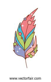 Isolated boho feather with stars vector design