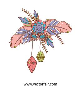 Isolated boho flower with feathers vector design