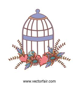 Isolated boho bird cage with flowers and leaves vector design