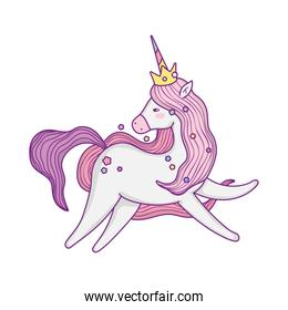 unicorn horse cartoon with crown vector design