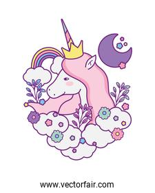 unicorn horse cartoon with flowers and clouds vector design