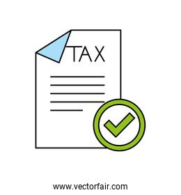 Isolated tax document and check mark vector design