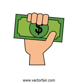 Isolated hand holding bill vector design