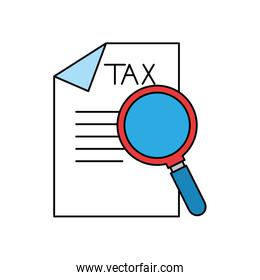 Isolated tax document and lupe vector design
