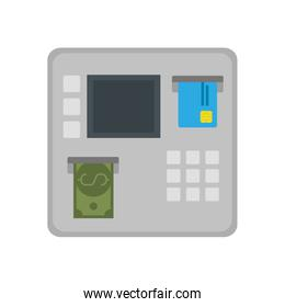 Isolated atm with bill and credit card vector design