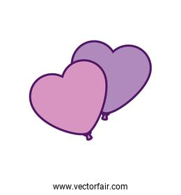 Isolated hearts balloons vector design
