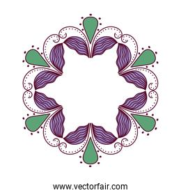 blue and green mandala leaves drops feathers circle vector design