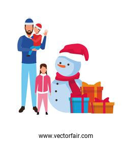 avatar man with little kids and christmas snowman
