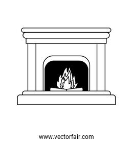 chimney with fire icon, flat design