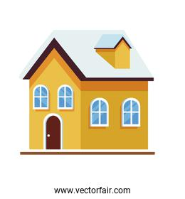 traditional house building icon, flat design
