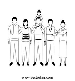 faceless grandfathers  with sons and grandchild