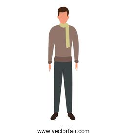 avatar man standing icon, flat colorful design