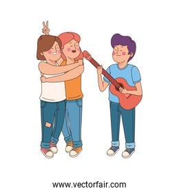 hugged cartoon teen girls and boy playing guitar