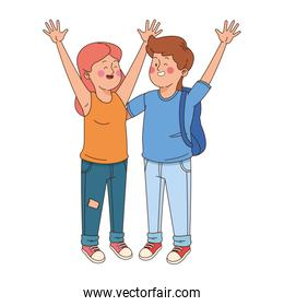 Teenager friends waving, colorful design