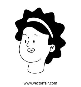 icon of teenager girl with curly hair