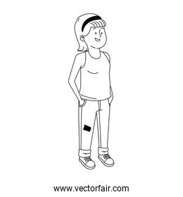 teenager girl wearing casual clothes, line stye icon