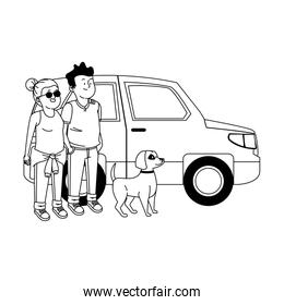 car and teen boy and girl with cute dog, line style icon