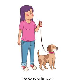 teen girl with cute dog icon