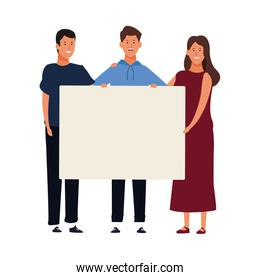 young two men and woman holding a blank poster