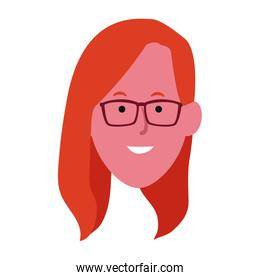 Cartoon woman with glasses icon, colorful flat design