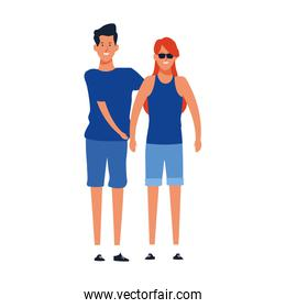 cartoon young couple, colorful design