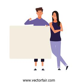 young woman and man with blank poster, colorful design
