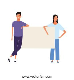 young woman and man with blank poster