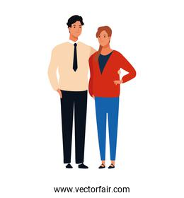 young couple standing, colorful design
