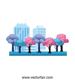 colorful trees and city buildings, colorful design