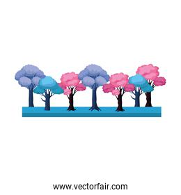 blue and pink trees icon, colorful design