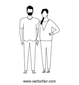avatar young couple icon, flat design
