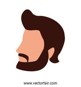 avatar man with beard icon, flat design