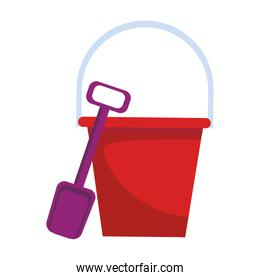 sand bucket and shovel icon, colorful design
