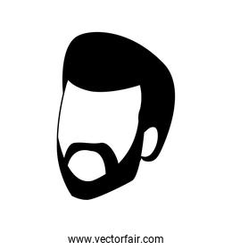 adult man with beard icon, flat design