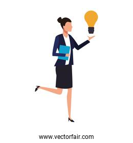 avatar businesswoman with big light bulb